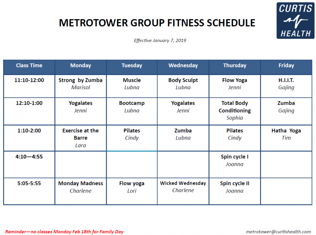 Metrotower Winter Schedule